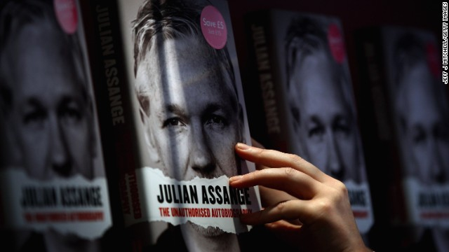 "Copies of the ""unauthorized autobiography"" of Assange sit on display in a bookstore in Edinburgh, Scotland, on September 22, 2011. Earlier that month, WikiLeaks released more than 250,000 U.S. diplomatic cables."