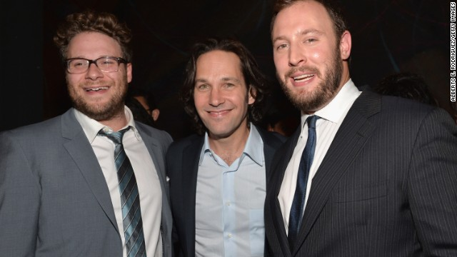 Seth Rogen (left),Paul Rudd and writer/director Evan Goldberg attend the after party for Columbia Pictures'