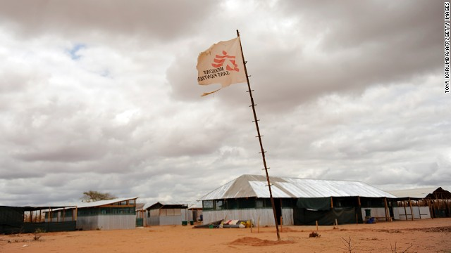 A flag carrying the logo of the Medecins-Sans-Frontieres (MSF, Doctors Without Borders) organization stands in the middle of a makeshift clinic at Kenya's Dadaab refuge on October 16, 2011. Medicins San Frontieres won the Nobel Peace Prize in 1999.