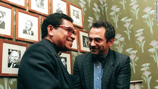 Bishop Carlos Filipe Ximenes Belo, left, and Jose Ramos-Horta shake hands at the Norwegian Nobel Institute in Oslo on December 9,1996, prior to the awarding ceremony. Belo and Ramos-Horta won the Nobel Peace Prize in 1996.