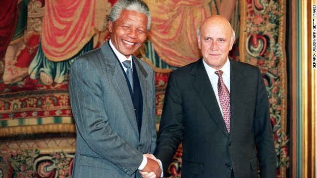 South African National Congress President Nelson Mandela, left, and South African President Frederik de Klerk shake hands in Oslo, Norway, on December 10, 1993, after being awarded the Nobel Peace Prize.