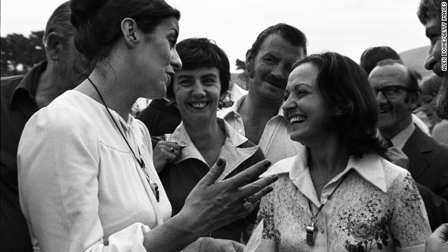 Betty Williams and Mairead Corrigan, co-founders of the Community for Peace People, share a joke while leading a peace rally of Catholic and Protestant woman in the Protestant Shankill Road, in Belfast, on August 28, 1976. Williams and Corrigan won the Nobel Peace Prize in 1976.