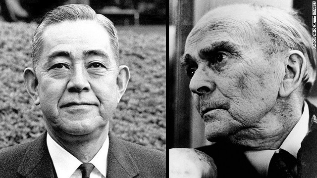 Japanese Prime Minister Eisaku Sato, left, and Irish official Sean MacBride shared the Nobel Peace Prize in 1974.