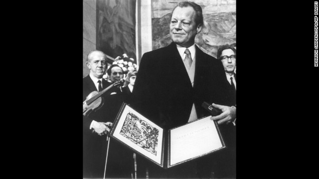 German Chancellor Willy Brandt poses after being awarded the Nobel Peace Prize in 1971 in Oslo on December 10, 1971.