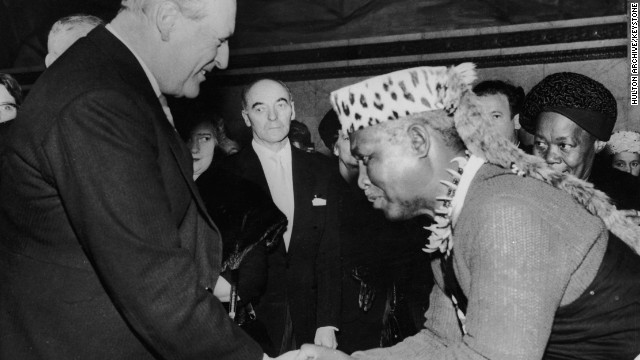King Olav V of Norway, left, shakes hands with Albert Lutuli, president-general of the African National Congres, after receiving the Nobel Peace Prize in 1960 in Oslo.