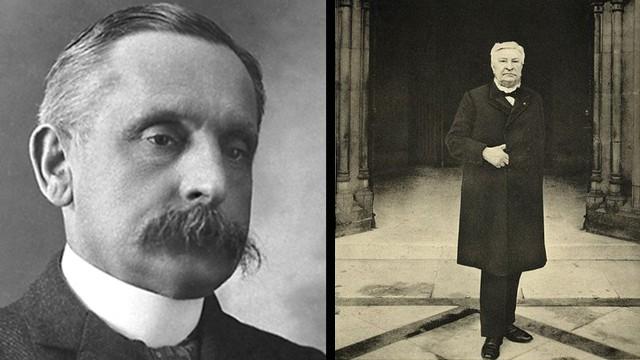 Paul Henri Benjamin Balluet d'Estournelles de Constant, Baron de Constant de Rebecque, left, and Auguste Marie François Beernaert won the Nobel Peace Prize in 1909.