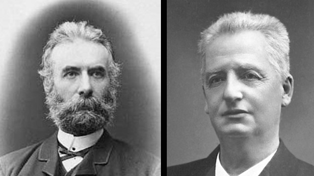 Fredrik Bajer, left, and Klas Pontus Arnoldson won the Nobel Peace Prize in 1908.