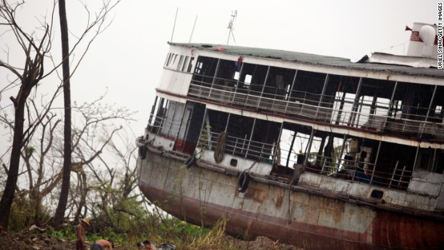 The shell of a ferry is dumped on land in Bogale by fierce winds and waves whipped by Cyclone Nargis, in a photo dated May 18, 2008. Around 140,000 people were killed across Myanmar in the country's worst ever nat