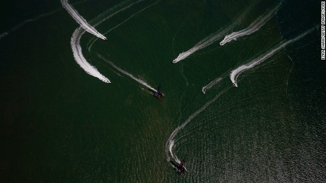 """When I was in the helicopter we either had to fly on the outside of the race course, or at an altitude of about 400 meters to stay away from the television helicopters that had priority. Although it was a little high to get intense action pictures, I was able to work the lines of the boats into the composition,"" said Shaw."