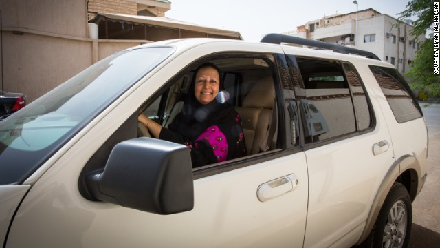 Madiha Al Alajroush, one of the Saudi women supporting the Oct 26 driving campaign, behind the wheel.