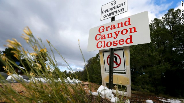 The main entrance to Grand Canyon National Park remains closed to visitors on October 10.