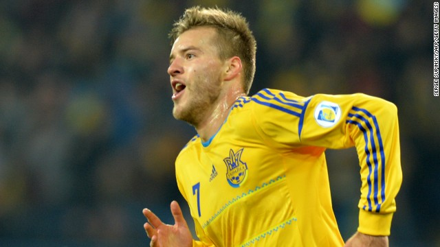 Ukraine's Andriy Yarmolenko celebrates his crucial goal as they beat Poland 1-0 in Kharkiv to keep alive their hopes of qualification from Group H.