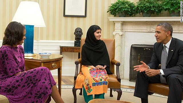 Malala confronts Obama