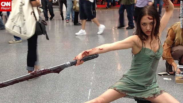 "This cosplayer poses as <a href='http://instagram.com/p/fVvqDQHlZc/' target='_blank'>River</a>, as seen on the poster for the ""Firefly"" movie adaptation ""Serenity."""