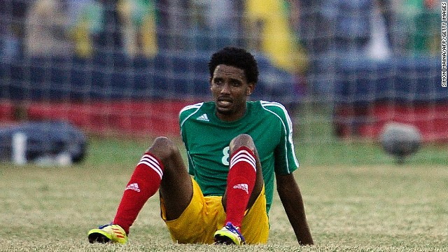 Ethiopia's Asrat Magersa shows his dejection after his team lost the first leg of the World Cup qualifier against Nigeria in Addis Ababa.