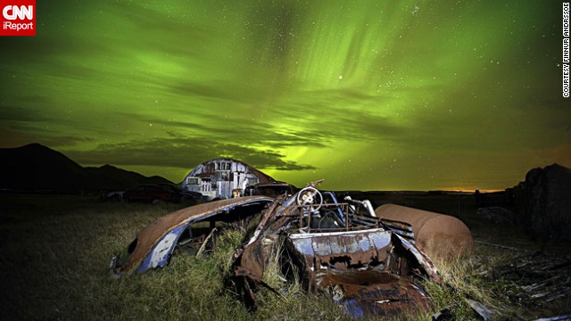 Finnur Andresson photographed this stunning display of the northern lights in Akranes, Iceland, while visiting an abandoned farm in the area.