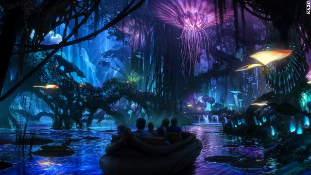 Due to open in 2017, Walt Disney World Resort's Avatar-themed land is being developed as part of massive expansion plans at the Animal Kingdom park in Orlando, Florida. This artist rendering shows a jungle of bioluminescent plants, alive with light and sound, that guests will experience at night.