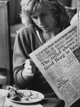 Borg is seen tucking into the traditional English breakfast of bacon and eggs after being knocked out of Wimbledon in 1974.