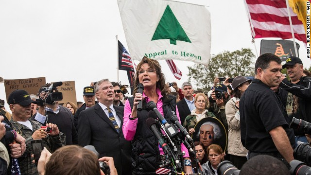Former Alaska Gov. Sarah Palin speaks at a rally October 13 regarding the government shutdown.