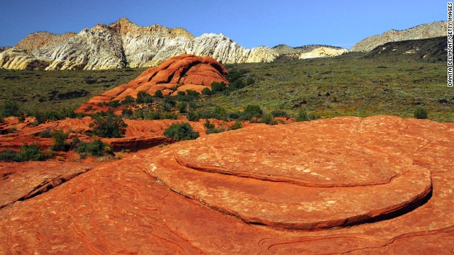 Snow Canyon State Park has a canyon carved from the red and white Navajo sandstone in Utah's Red Mountains.