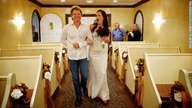 After a successful online effort to make it happen, Jon Bon Jovi walked Australian bride-to-be Branka Delic down the aisle before her wedding to Gonzalo Cladera at the Graceland Wedding Chapel in Las Vegas on October 12, 2013.