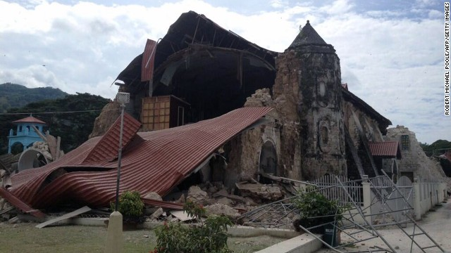 A 7.1 earthquake causes damage to the Church of San Pedro in the town of Loboc, Bohol, on October 15.