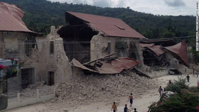 Damage to the Church of San Pedro in the town Loboc, Bohol is seen after a major 7.1 magnitude earthquake struck the region on October 15.