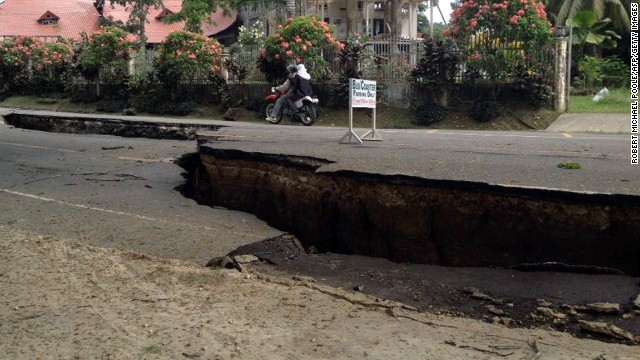 Roads are damaged in Loboc, Bohol, after a 7.1 magnitude earthquake struck the region on October 15.