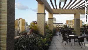 The Sapphire Hotel\'s roof terrace provides a break from the streets.