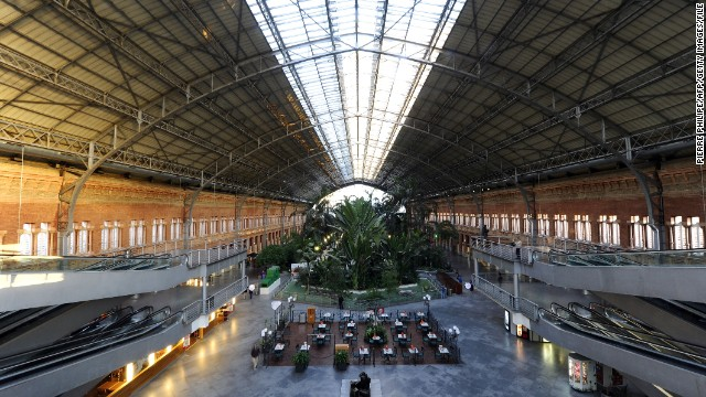 Atocha is the largest railway station in the Spanish capital, Madrid. The vast terminal services high-speed (AVE) trains, local commuter lines and a phalanx of inter-city routes. It also plays host to a 4,000-square meter garden filled with tropical plants and flowers (pictured).
