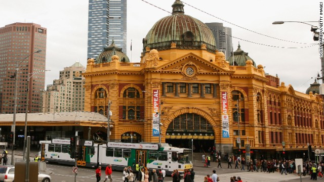 The classy yellow facade and green copper dome of Flinders Street Station in Melbourne, Australia. The century-old structure is the busiest suburban railway station in the southern hemisphere with 110,000 commuters passing through each day, according to the City of Melbourne.