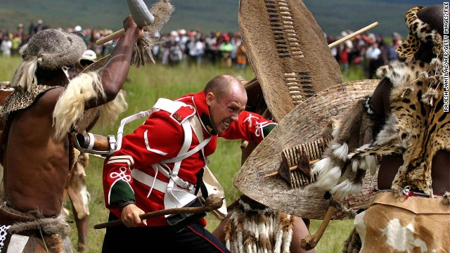 At the 1879 Battle of Isandlwana, Zulu troops routed better-equipped British soldiers. The battle is re-enacted regularly (pictured) and the site at Isandlwana is well maintained with accommodations nearby.