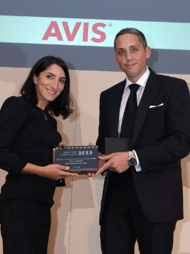 CNN Business Traveller Senior Producer Rosie Tomkins is presented with Best Newcomer to Business Travel or Meetings & Events Journalism by Dean Rose, Head of Corporate Sales at Avis.