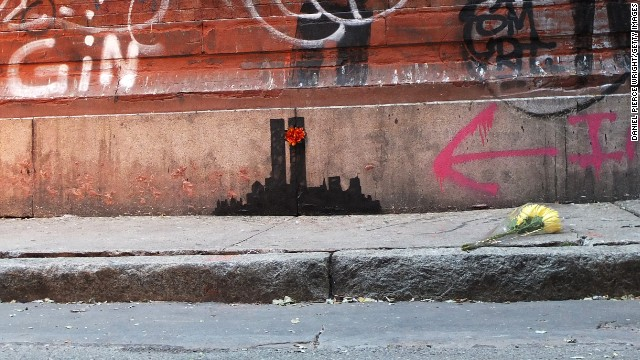 Graffiti depicting the Twin Towers popped up in the Tribeca neighborhood on October 15.