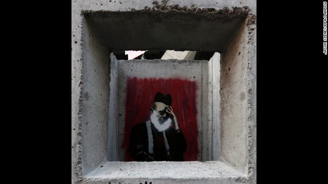 "Banksy's ""Concrete Confessional"" is seen on the Lower East Side of Manhattan on October 14."