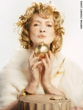 "Draped in a diaphanous wrap of gauzy silk-organza strips and <a href='http://www.marthastewart.com/270663/golden-goddess-makeup-behind-the-scenes?xsc=synd_cnn' target='_blank'>wearing golden leaves in her hair</a>, Martha became a stunning<a href='http://www.marthastewart.com/270249/golden-goddess?xsc=synd_cnn' target='_blank'> Golden Goddess</a> for the ""Good Things"" cover of the 2007 Halloween issue."