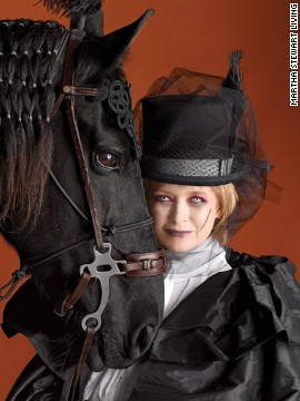 With<a href='http://www.marthastewart.com/269471/marthas-ghostly-equestrienne-makeup?xsc=synd_cnn' target='_blank'> reddened eyes, a ghostly pallor,</a> and her midnight steed Rutger by her side, Martha was instantly transformed into a <a href='http://www.marthastewart.com/907722/ghostly-equestrienne-costume?xsc=synd_cnn' target='_blank'>haunted horsewoman</a> for the cover of the 2009 Halloween issue.