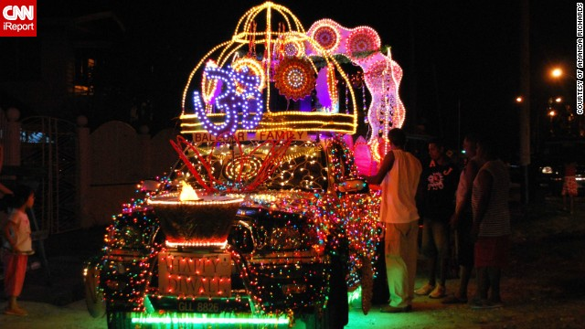 "Each year Guyana's 200,000 strong Hindu population celebrate Diwali with a <a href='http://ireport.cnn.com/docs/DOC-1044444' target='_blank'>huge motorcade</a> in the capital Georgetown. This photo, featuring one of the sparkling vehicles, was captured in 2009 by Guyana native Amanda Richards. She said: ""Spectators line the route and wait for hours to see the parade pass by. It is now a tourist attraction and also a family outing for thousands of people."""