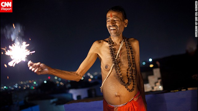 "Roy del Vecchio from the Netherlands was traveling through India during Diwali. ""I love India and wanted to experience the festival once in Rajasthan. <a href='http://ireport.cnn.com/docs/DOC-1046028' target='_blank'>This man invited me for sweets</a>, a tradition during Diwali, and together with his sons we lit some fireworks on the rooftop,"" said the 39-year-old."