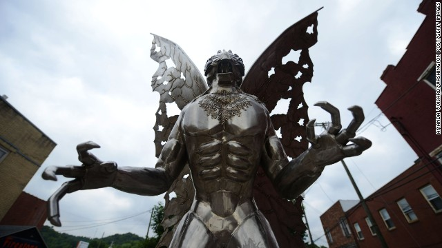 """The Legend of the Mothman"" statue by Bob Roach guards the streets of Point Pleasant, West Virginia. The town is synonymous with the story of the Mothman, an extraterrestrial creature allegedly spotted in town in the late 1960s, and made famous by the book ""The Mothman Prophecies,"" later adapted as a film."