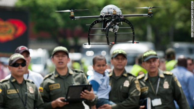 <strong>Protect and serve: </strong>after the military, police forces were among the first to declare an interest in drones. In May, Colombian police revealed this surveillance quad-coptor -- designed to protect Latin American heads of state at the VII Pacific Allianz Summit -- and UAVs have been <a href='http://articles.washingtonpost.com/2011-03-23/world/35261451_1_drones-scaneagle-farc' target='_blank'>used in counter-narcotics operations in the country since 2006</a>.