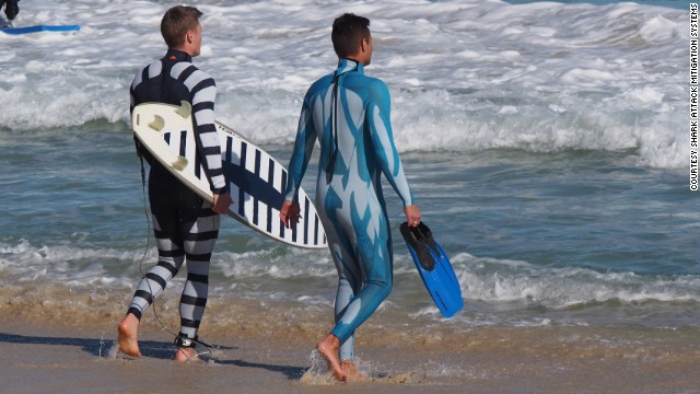 These shark-repellent wetsuits were inspired by our fear of the great predators. The back and white striped version signals that we're unappealing food. While the blue and white suit helps camouflage divers in the water.