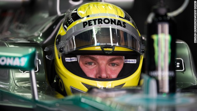 Mercedes driver Nico Rosberg wearing a helmet like the one which was stolen on Sunday.