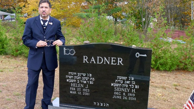 "William Radner had images of the Houdini cuffs cut into his parents' gravestone. ""My father would be proud to know the image of his favorite cuffs are with him forever,"" Radner says."