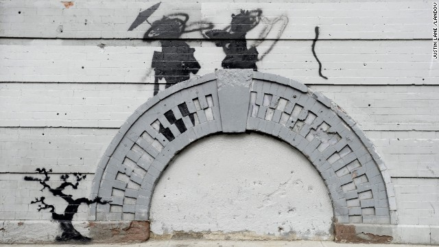 Banksy work was vandalized in broad daylight October 17 in the Williamsburg neighborhood of Brooklyn.