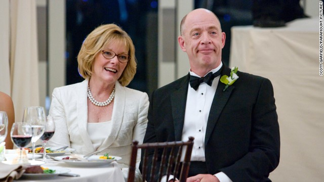 "J.K. Simmons, seen here with Jane Curtin in the film ""I Love You, Man,"" has played all sorts of roles, including a white supremacist on ""Oz"" and a therapist on ""Law & Order."""