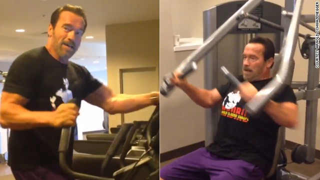 Arnold Schwarzenegger posted a video of himself working out in a hotel gym on Instagram.
