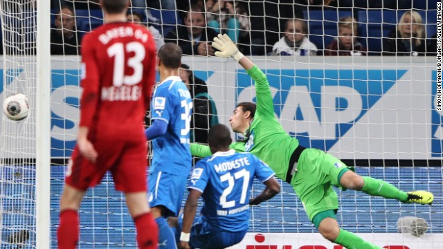 Stefan Kiessling's 70th minute header against Hoffenheim goes into the side netting but referee Felix Brych awarded a goal in their 2-1 away win.