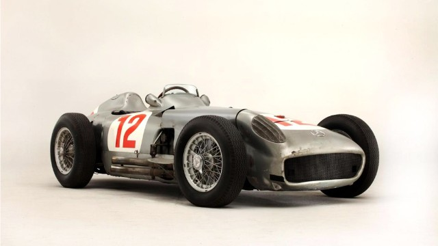 This 1954 Mercedes-Benz W196 recently sold at auction for $30 million in England. It was part of a group of race cars that won nine of 12 Forrmula 1 World Championship-qualifying races during 1954 and 1955 and was driven by Juan Manuel Fangio.