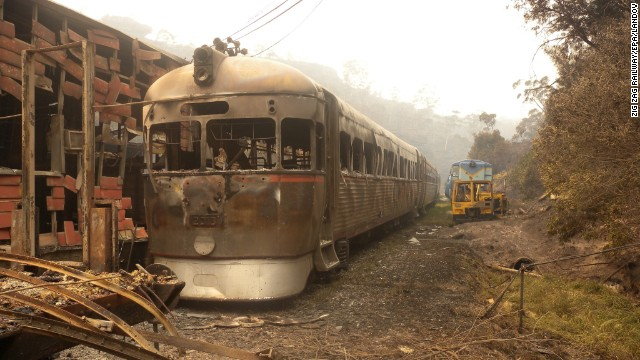 In this photo provided by <a href='http://www.zigzagrailway.com.au/' target='_blank'>Zig Zag Railway</a>, Rail Motor 2016 sits burnt out October 18 after the fires swept through the Australian heritage railway line near Lithgow.
